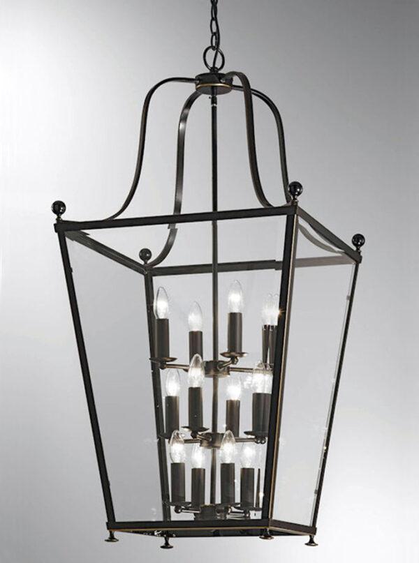 Very Large Edwardian Style 12 Light Hanging Lantern Antique Bronze