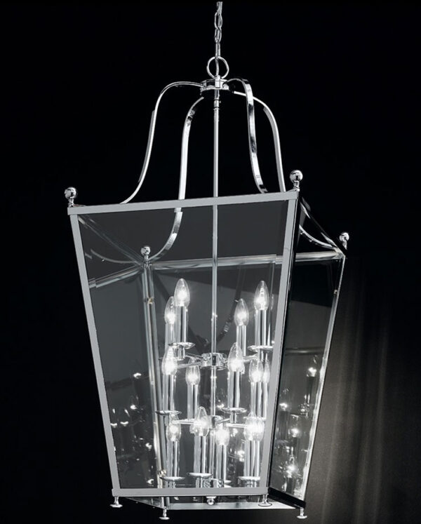 Franklite LA7003/12 Atrio very large 12 light chrome hanging lantern black background