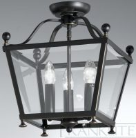 Franklite Atrio Flush Bronze Ironwork 3 Light Ceiling Lantern