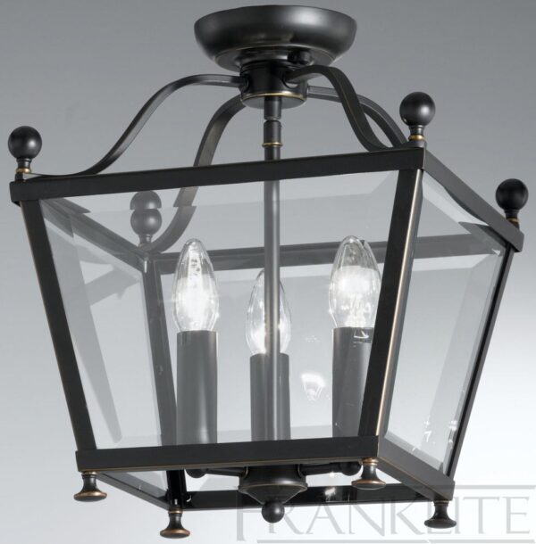 Franklite LA7004/3 Atrio antique bronze flush mount 3 light ceiling lantern