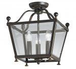 Edwardian Style Flush Mount 3 Light Ceiling Lantern Antique Bronze