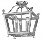 Edwardian Style Flush Mount 3 Light Ceiling Lantern Polished Chrome
