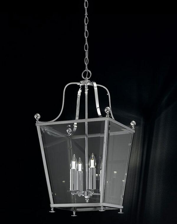 Franklite LA7003/4 Atrio large 4 light polished chrome hanging lantern - black background