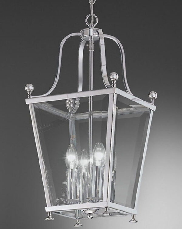 Franklite LA7002/4 Atrio chrome 4 light hanging hall lantern grey background