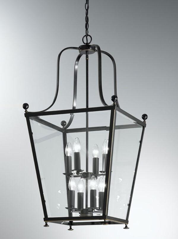 Franklite LA7005/8 Atrio large 8 light antique bronze hanging lantern grey background