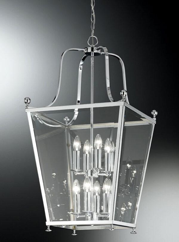 Franklite LA7003/8 Atrio large 8 light chrome hanging lantern grey background
