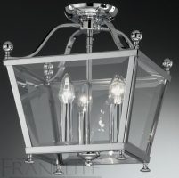 Franklite Atrio Flush Chrome Ironwork 3 Light Ceiling Lantern