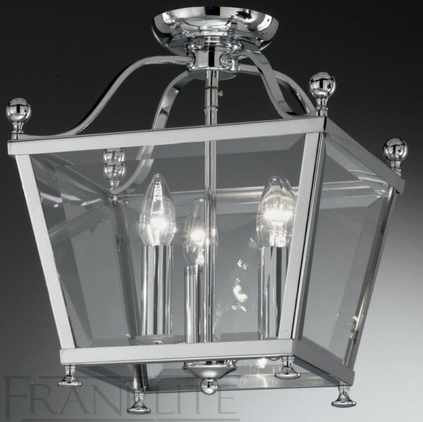 Franklite Atrio Chrome Flush Mount 3 Light Ceiling Lantern