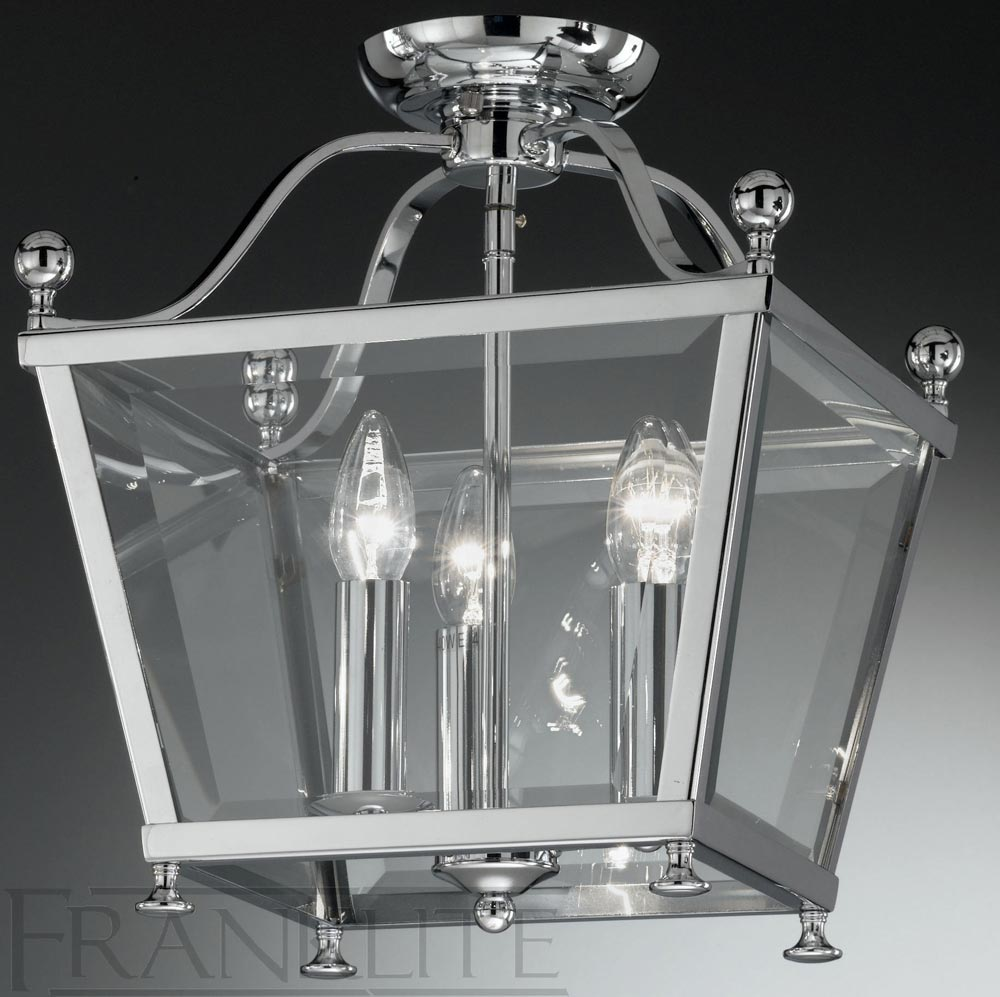 Franklite Atrio Flush Chrome Ironwork 3 Light Ceiling