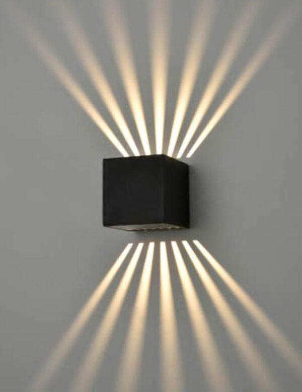 Small Cube 1 Light LED Exterior Up Down Wall Light Matt Black IP54