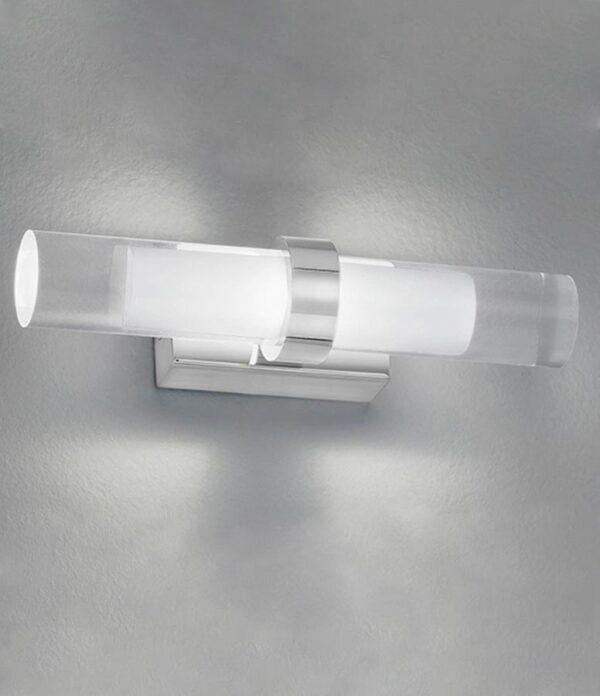 Stylish Modern 2 Light LED Bathroom Wall Light Polished Chrome IP44