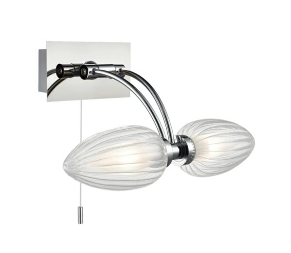 Switched Bathroom Wall Over Mirror 2 Light Chrome Oval Glass Shades