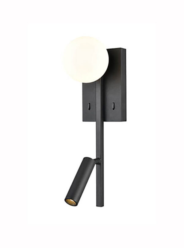 Contemporary Switched LED Bedside Wall Reading Light USB Port Black