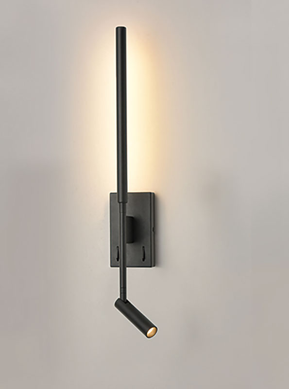 Contemporary Switched LED Bedside Wall Reading Light Matt Black