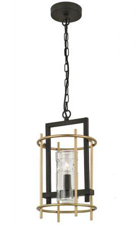 Franklite Bistro Single Pendant Ceiling Light Antique & Matt Gold