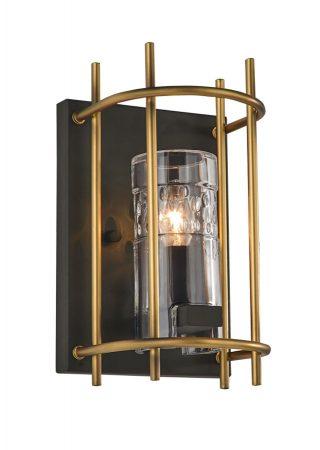 Franklite Bistro Single Lamp Wall Light Antique & Matt Gold
