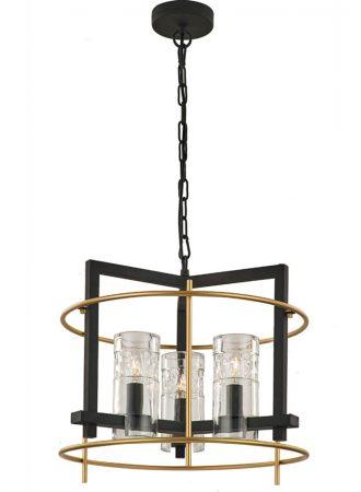 Franklite Bistro 3 Light Ceiling Pendant Antique & Matt Gold