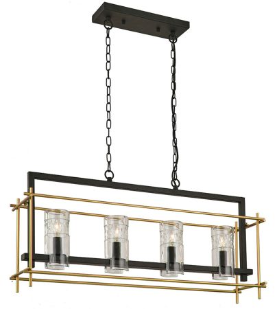 Franklite Bistro 4 Light Trough Ceiling Pendant Antique & Matt Gold