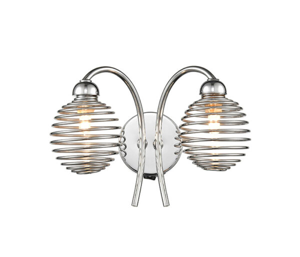 Modern 2 Lamp Switched Wall Light Polished Chrome Cage Shades