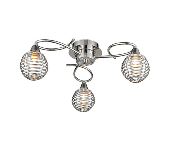 Modern 3 Lamp Flush Low Ceiling Light Polished Chrome Cage Shades