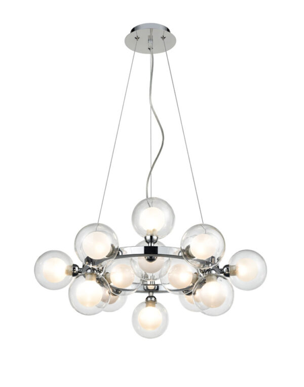 Modern 15 Lamp Pendant Ceiling Light Polished Chrome Bubble Shades