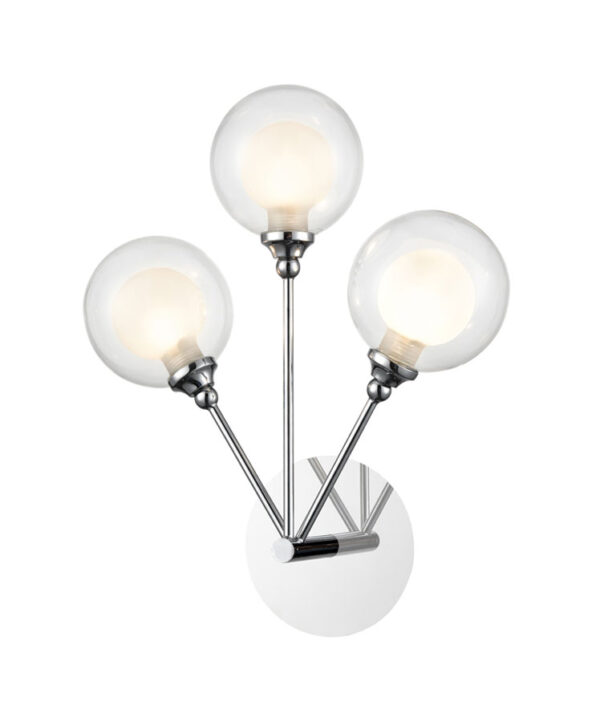 Modern 3 Lamp Switched Wall Light Polished Chrome Bubble Shades