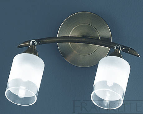 Traditional Switched Wall Lights : Franklite Campani Bronze Switched Twin Wall Light Acid Glass Shades