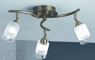 Franklite Campani Bronze 3 Light Ceiling Spot Light Plate Acid Glass