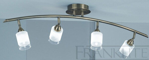 Franklite Campani Bronze 4 Light Curved Ceiling Spot Light Bar