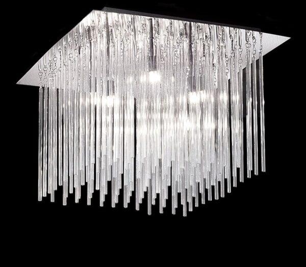 Franklite Carillon 8 Light Flush Mount Ceiling Light Chrome Glass Rods