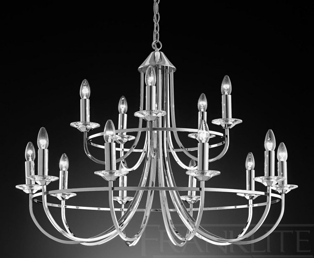 franklite carousel large polished chrome 15 light chandelier fl2146 15