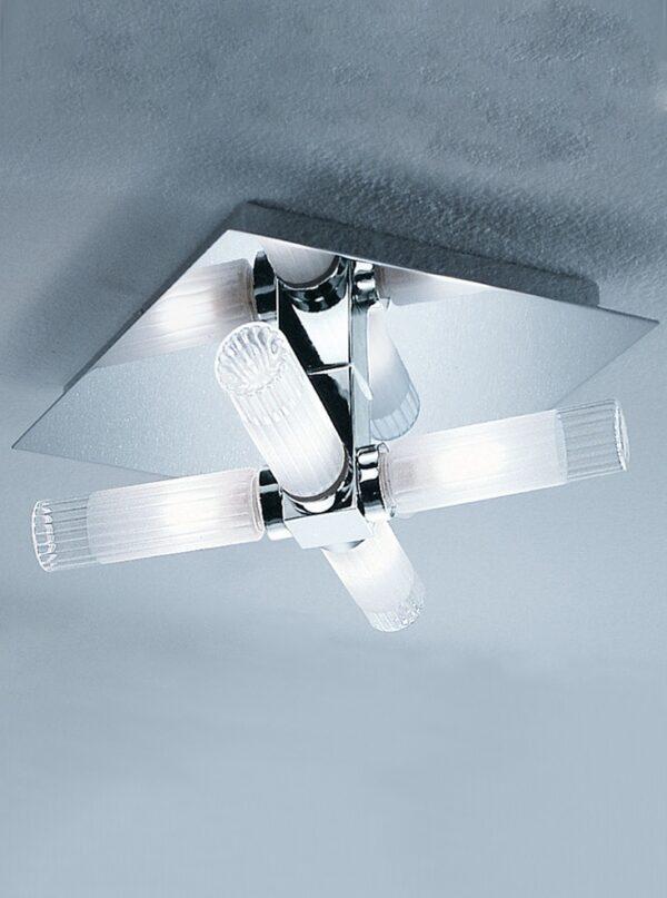 Quality 4 Lamp Flush Bathroom Ceiling Light Chrome Ribbed Glass IP44