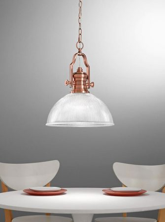 Franklite Charter 1 Light Ceiling Pendant Antique Copper Ribbed Glass