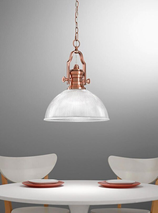 Industrial Style 1 Light Ceiling Pendant Antique Copper Ribbed Glass