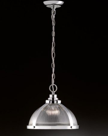 Franklite Charter 1 Light Ceiling Pendant Polished Chrome Ribbed Glass