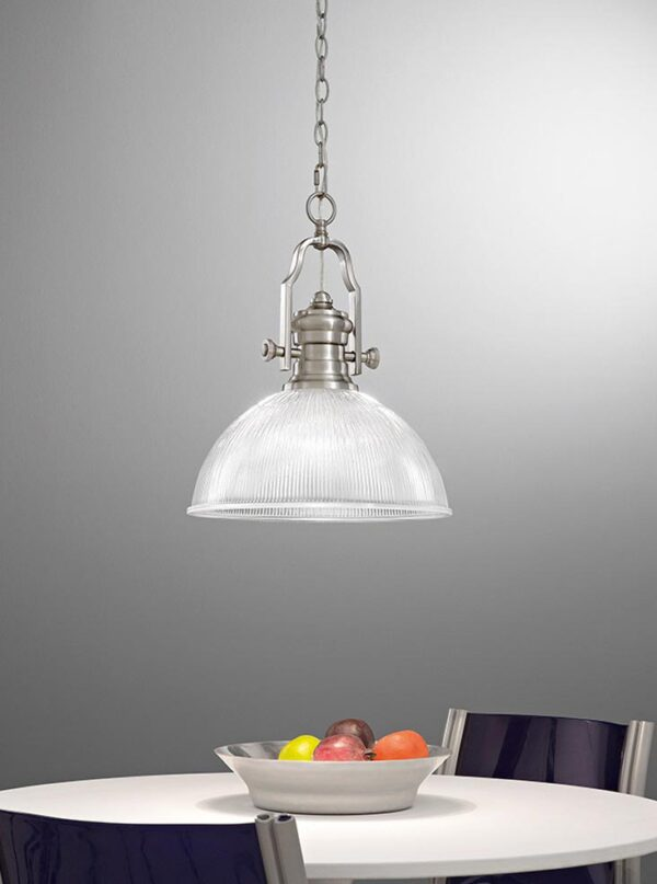 Industrial Style 1 Light Ceiling Pendant Satin Nickel Ribbed Glass Shade