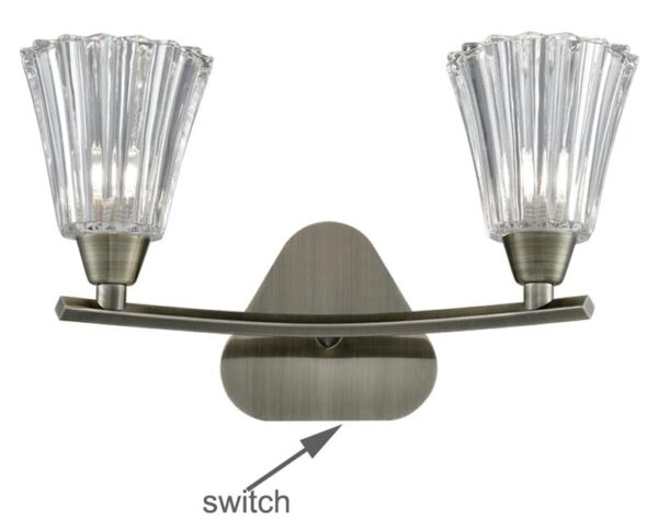 Franklite Clemmy Twin Switched Wall Light Bronze Fluted Glass