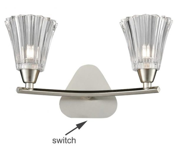 Franklite Clemmy Twin Switched Wall Light Satin Nickel Fluted Glass