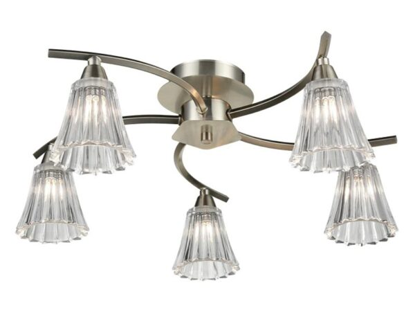 Elegant 5 Arm Semi Flush Ceiling Light Satin Nickel Fluted Glass Shades