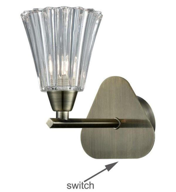 Elegant 1 Lamp Single Switched Wall Light Bronze Fluted Glass Shade