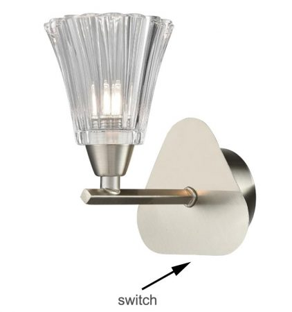 Franklite Clemmy Single Switched Wall Light Satin Nickel Fluted Glass