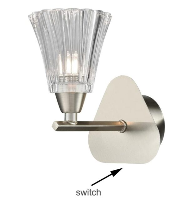 Elegant Single Switched Wall Light Satin Nickel Fluted Glass Shade