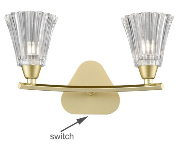 Franklite Clemmy Twin Switched Wall Light Matt Gold Fluted Glass