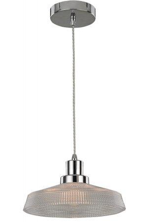 Franklite Concept 1 Lamp 26cm Ceiling Pendant Chrome Glass
