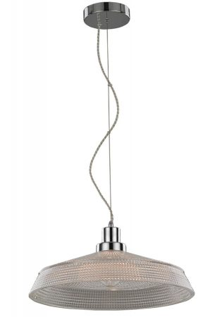 Franklite Concept 1 Lamp 40cm Ceiling Pendant Chrome Glass