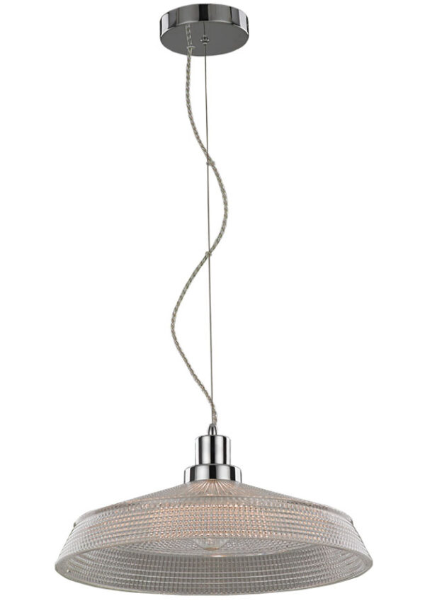 Franklite PCH161 Concept 1 lamp 40cm ceiling pendant in polished chrome