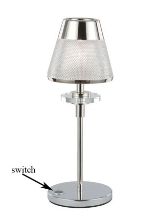 Franklite Concept Table Lamp Polished Chrome Textured Glass