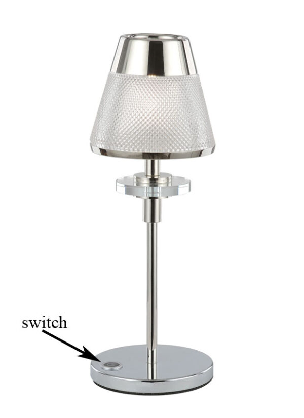 Concept table lamp in polished chrome with textured glass shade