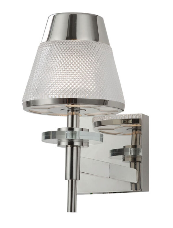 Retro Style 1 Lamp Wall Light Polished Chrome Textured Glass Shade