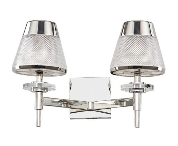 Franklite Concept 2 Arm Twin Wall Light Chrome Textured Glass